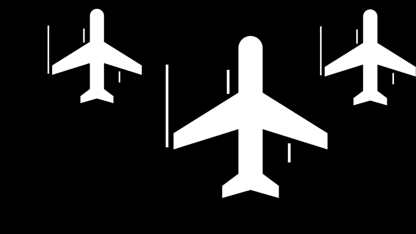 Abstract animation of airplanes-shaped objects synchronically flying above the white stripes on the black background. Animation. White and black animation of air transport.   Shutterstock HD Video #1033313813