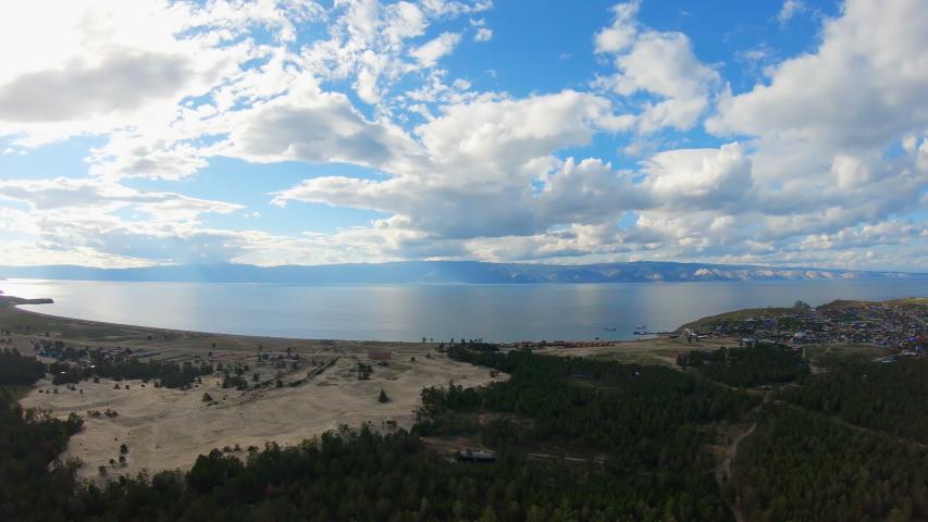 Aerial view of lake Baikal shore, Olkhon island, Khuzhir.  | Shutterstock HD Video #1033456283