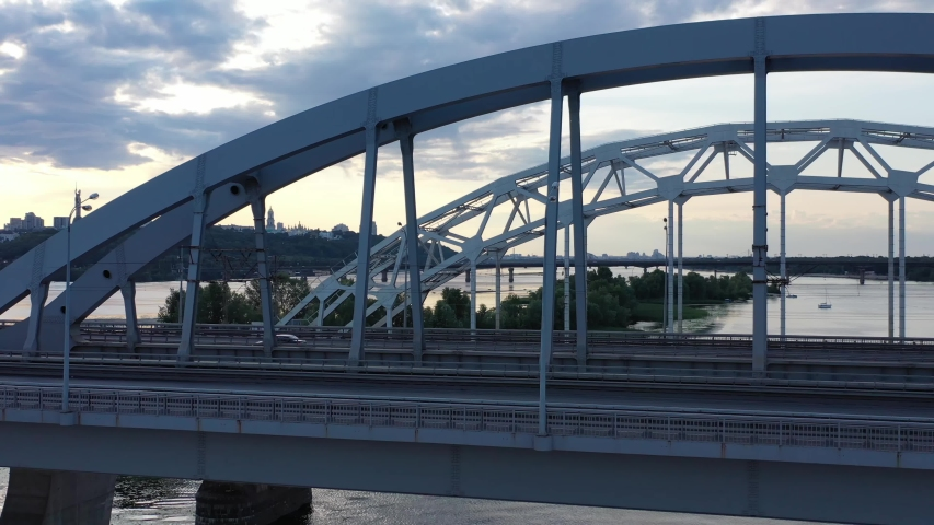 road and rail bridge over the river #1033601483