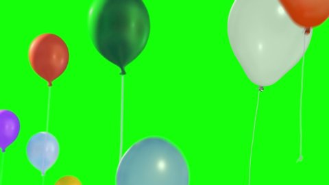 Colorful balloons flying in the air. Flying balloons. Multicolored balloons. Balloons rising in the air. Helium balloon with rope. Chroma key. Green screen. Ultra HD - 4K (2160p), ProRes 422, 30 fps.