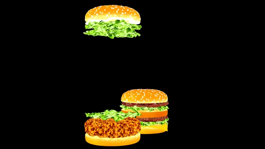Animated burgers. The moving parts of hamburgers. Animation of hamburgers for snack bars, cafes and restaurants. Food advertisement. Cheerful fast food advertisement.  | Shutterstock HD Video #1033721513