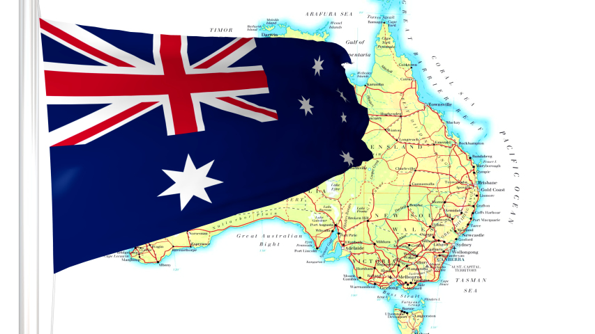 Australia Map Video.Australia Map With Australian Flag Stock Footage Video 100 Royalty Free 1033922513 Shutterstock