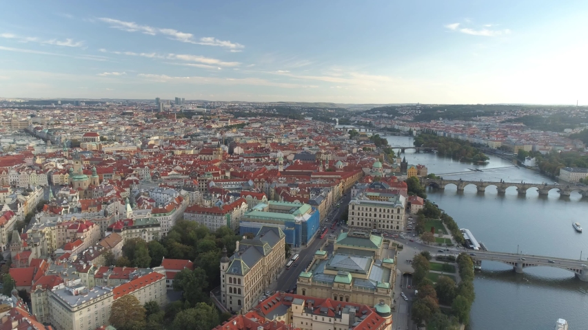 PRAGUE, CZECH REPUBLIC - MAY, 2019: Aerial pamorama drone view of the city centre, cityscape of Prague, flight over the city, Area Old Town. | Shutterstock HD Video #1033932053
