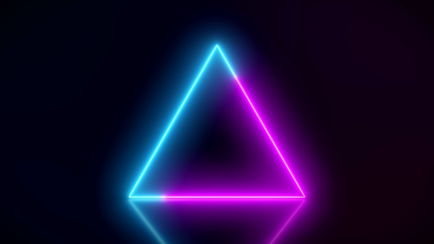Video animation of glowing neon triangle in blue and magenta on reflecting floor. - Abstract background - laser show | Shutterstock HD Video #1033951283