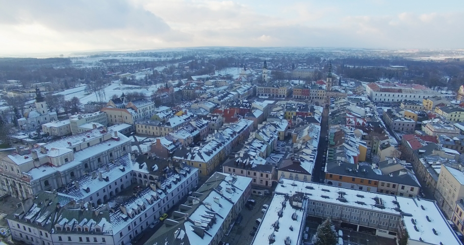 Winter aerial drone view of small town #1033975103
