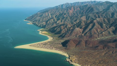 Aerial view of the Jacques Cousteau Island, commonly known as Cerralvo Island, close to La Paz, Baja California Sur, Mexico.
