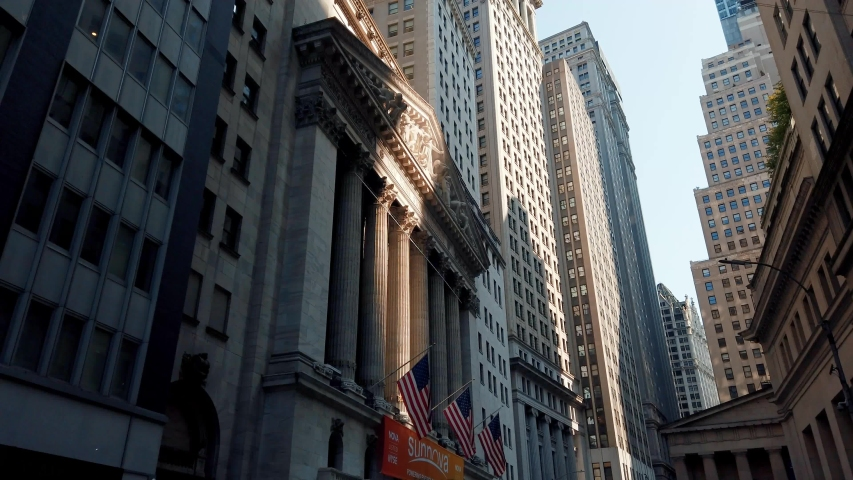 NEW YORK CITY, USA - JULY 25, 2019: New York Stock Exchange closeup view in a sunny day in Wall Street downtown Manhattan.