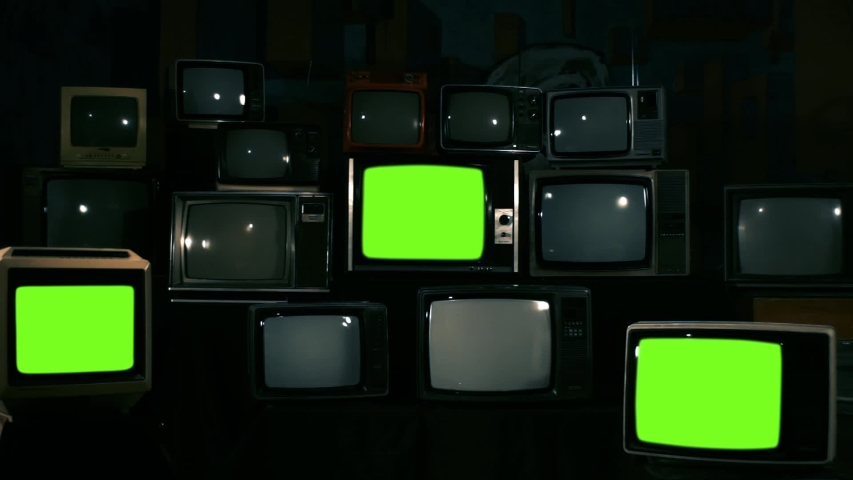 """Three Retro Televisions Turning On Green Screen. Blue Steel Tone. Zoom Out. You can replace green screen with the footage or picture you want with """"Keying"""" effect in AE (check out tutorials). 