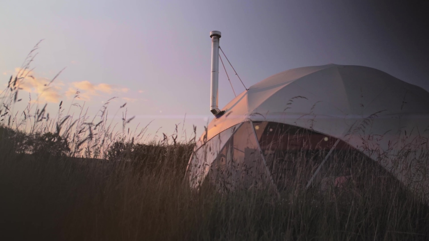 Geodesic dom / eco dome at sunset