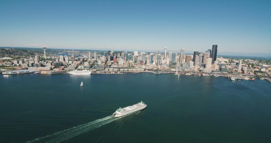 Seattle Washington USA Aerial View of Elliott Bay Waterfront Cityscape #1034383223