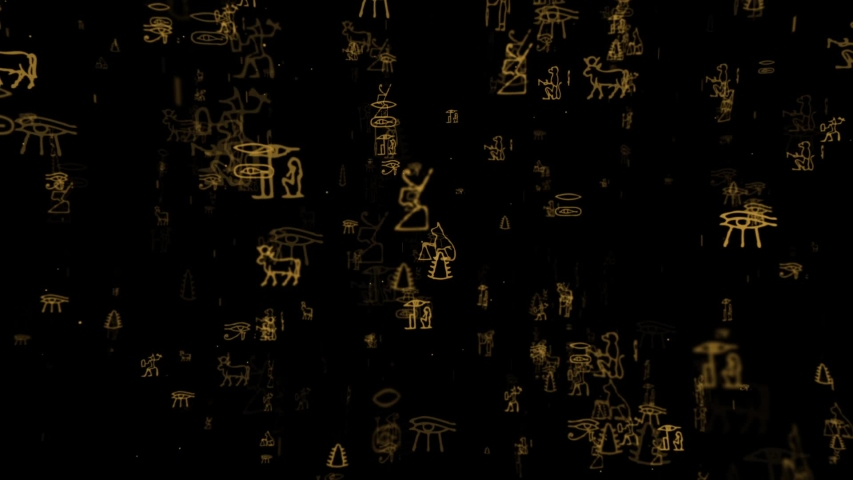 This stock motion graphics clip shows an array of mysterious hieroglyphs appearing over dark background. This clip is suitable for mystery shows, title scenes, openers, and other projects. | Shutterstock HD Video #1034540273