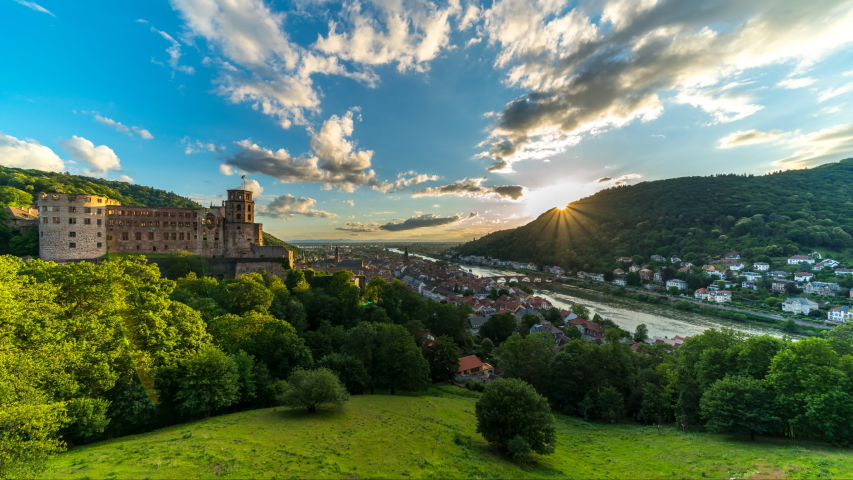 Heidelberg skyline aerial view from above, sunset over heidelberg city germany, timelapse video.
