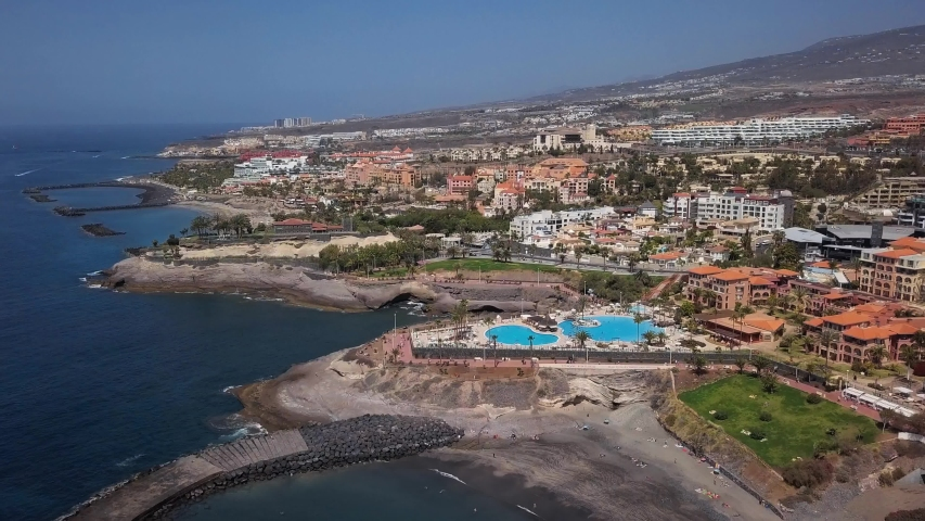 Aerial panorama of Costa Adeje resort and Playa del Duque beach, Tenerife, Canary islands, Spain.