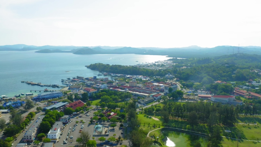 Aerial drone footage of Beautiful rural Kudat Town, Sabah, Malaysia | Shutterstock HD Video #1034722823