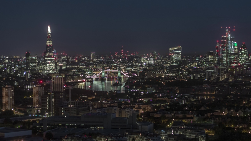 Establishing Aerial View of London, Tower Bridge, Shard, London Skyline, United Kingdom | Shutterstock HD Video #1034796563