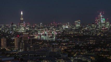 Establishing Aerial View of London, Tower Bridge, Shard, London Skyline, United Kingdom