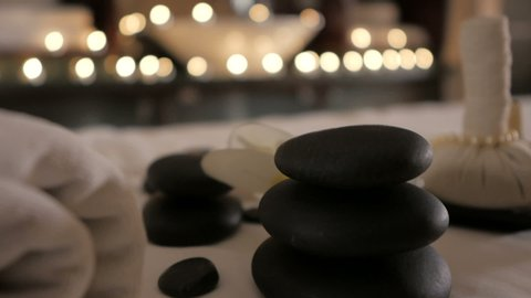 Beautiful spa composition on massage table in wellness center