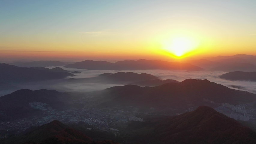 Aerial view mountain in autumn of South Korea And the sunrise,Korean landscape in the morning | Shutterstock HD Video #1034830073