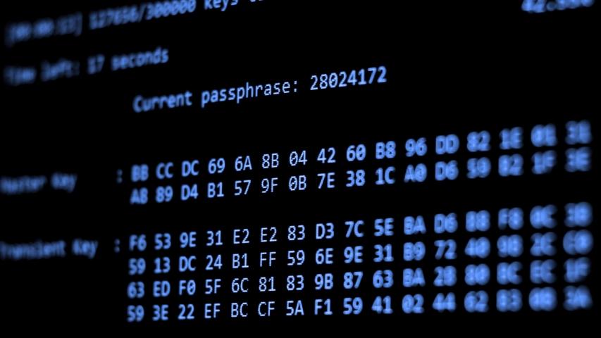 Computer Hacking, hacking bruteforce password attack via Wi-Fi network, Columns Of Hexadecimal Numbers Scrolling On Computer Screen, Key found! dark screen hacker | Shutterstock HD Video #1034853623