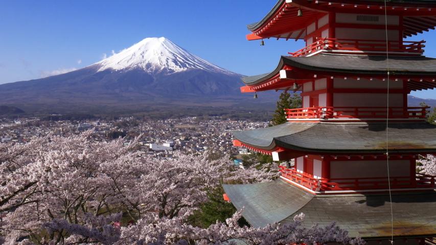 Panning shot of Mt. Fuji with Chureito Pagoda in Spring, Fujiyoshida, Japan | Shutterstock HD Video #1034957483