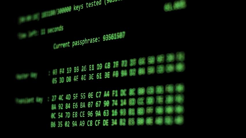 Computer Hacking, hacking bruteforce password attack via Wi-Fi network, Columns Of Hexadecimal Numbers Scrolling On Computer Screen, Key found! dark screen hacker | Shutterstock HD Video #1034958923