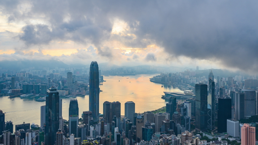 Hong Kong cityscape morning scene, 4k time-lapse of Hong Kong cityscape | Shutterstock HD Video #1035094943