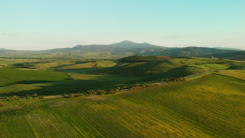 Italy aerial landscape, typical tuscany aerial landscape. Aerial video over amazing Tuscany landscape  #1035207803