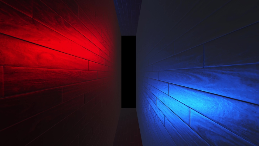 Creative neon futuristic tunnel with red, blue wall. Inside supercomputer, data center tunnel. Rotating camera in big machine, alpha channel black screen in the end.  | Shutterstock HD Video #1035213353