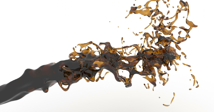 Spilling coffee 3d realistic footage. Cola, soda drink splashes dynamic animation. Brown liquid flow and splatter drops slow motion isolated on white background. Dark fluid stream 4k video