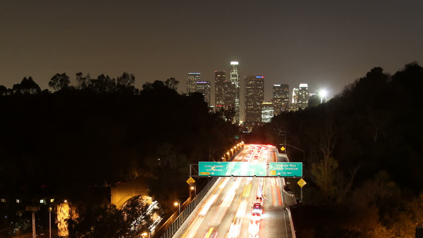 Timelapse zoom out from downtown Los Angeles.    Shutterstock HD Video #1035283
