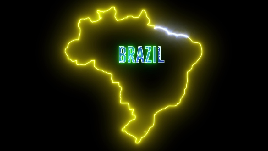 Abstract creative neon lights map of BRAZIL. Brazilian geography outline with shiny led light. | Shutterstock HD Video #1035298913