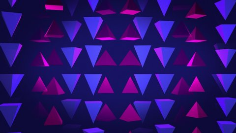 Abstract 3D background rendering of geometric pyramid shapes. Computer generated loop animation. Modern background, seamless motion design for poster, cover, branding, banner, placard. 4k