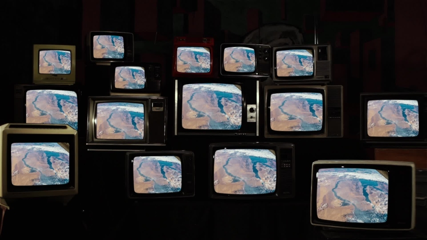 Earth from Space, as Seen on Many 80s TVs.  Elements of this Video furnished by NASA.  | Shutterstock HD Video #1035394283