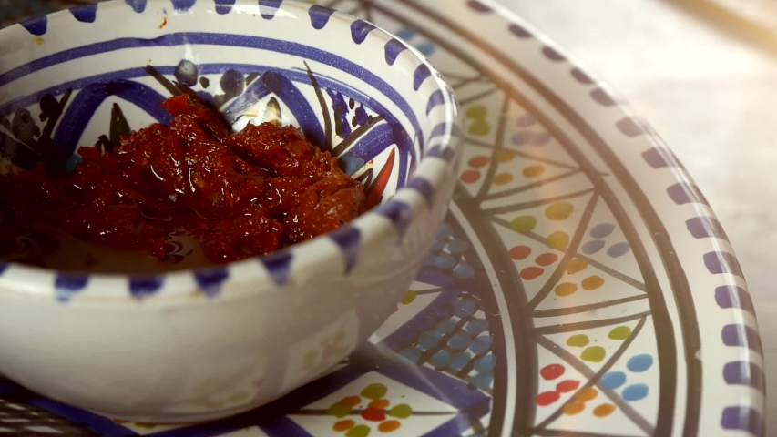 Traditional Arabic Cuisine Sauce In Painted Porcelain Plate | Shutterstock HD Video #1035454703