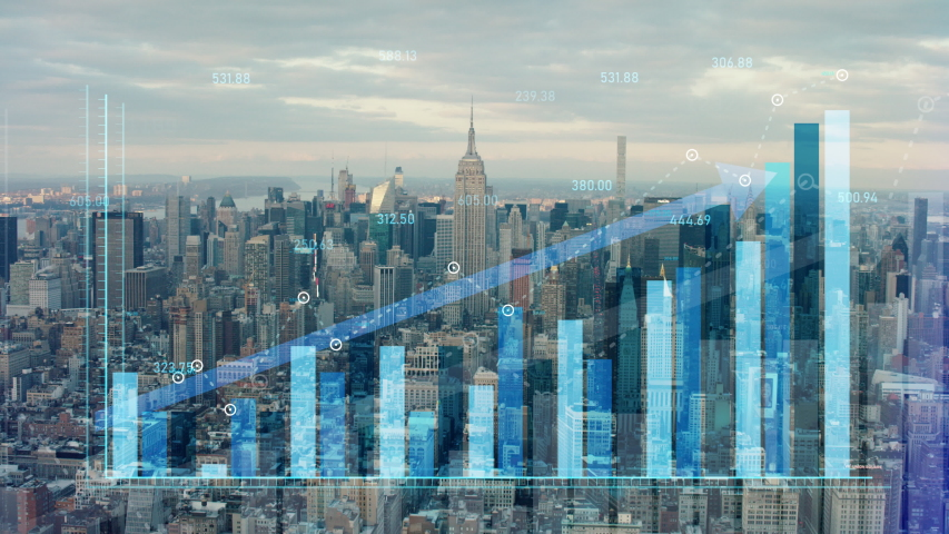 Double exposure of financial graphs rising in front of New York skyline. Illustrating NY stock exchange and financial growth value going up.