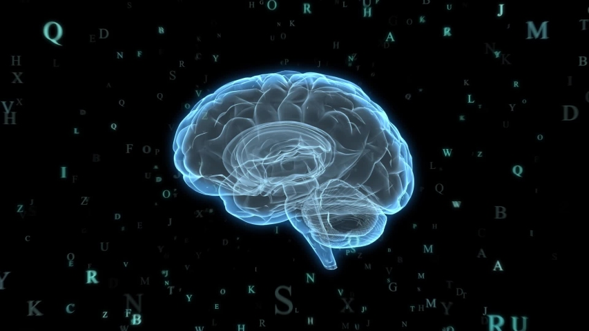 Holographic Human Brain and letters | Glowing letters around Human Brain Model  | Seamless Looping Motion Animated Background | Blue Cyan | Shutterstock HD Video #1035631943