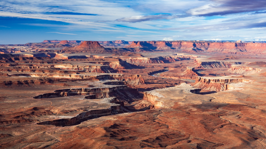 4K Timelapse Aerial view of Green River Overlook, Canyonlands National Park, Moab, Utah, USA | Shutterstock HD Video #1035757163