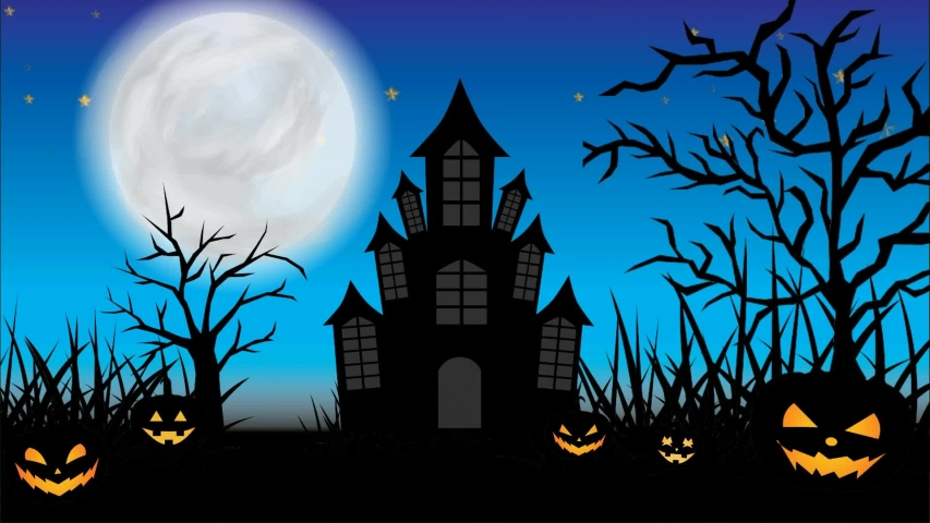 Halloween animation scary night of halloween. Looping halloween animation with grass and trees moving right and left, flying bats, scary pumpkin, haunted castle, shining stars, moon, and flying ghosts | Shutterstock HD Video #1035828143