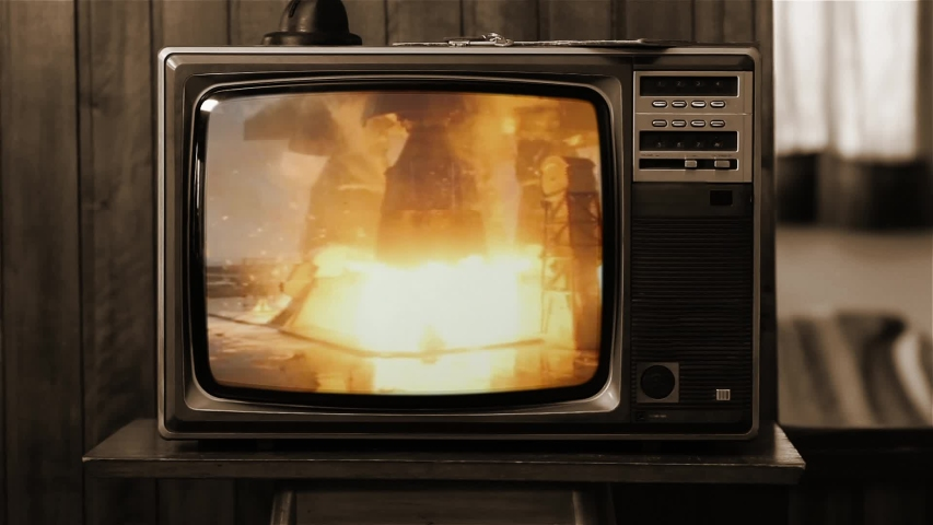 Apollo 11 Rocket Launch Color Film as Seen On a Vintage TV Set.  Pad Camera 5 (ground level). Sepia Tone. Elements of this Image Furnished by NASA.  | Shutterstock HD Video #1035908003