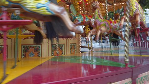 Carousel horses at a fairground