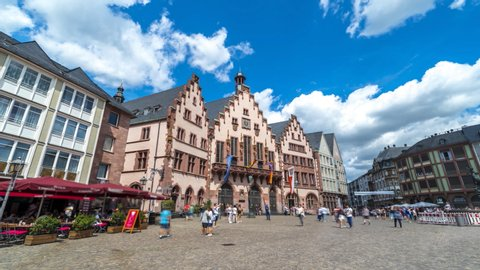 Beautiful view of The Römer Frankfurt's City hall square time lapse, People walking in front of, hyperlpase video in city centre old town in Frankfurt main germany. FRankfurt skyline.