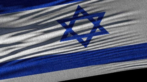 Flag of Israel. Ideal for sport or any national event. Beautiful textures, 3d flag waving. Closeup 1080p Full HD or 4k video presentation