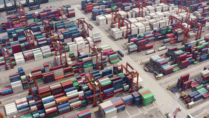 Hong Kong, August 29, 2019: Aerial view of logistics and transportation of container cargo ship and business logistics | Shutterstock HD Video #1036042253