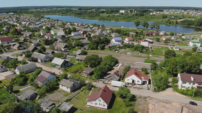 Aerial view Russian small town. Belarus. Voronovo. | Shutterstock HD Video #1036155263