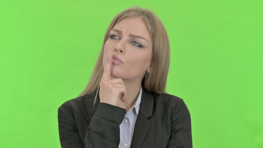 Ambitious Businesswoman Thinking about Something against Chroma Key | Shutterstock HD Video #1036207133