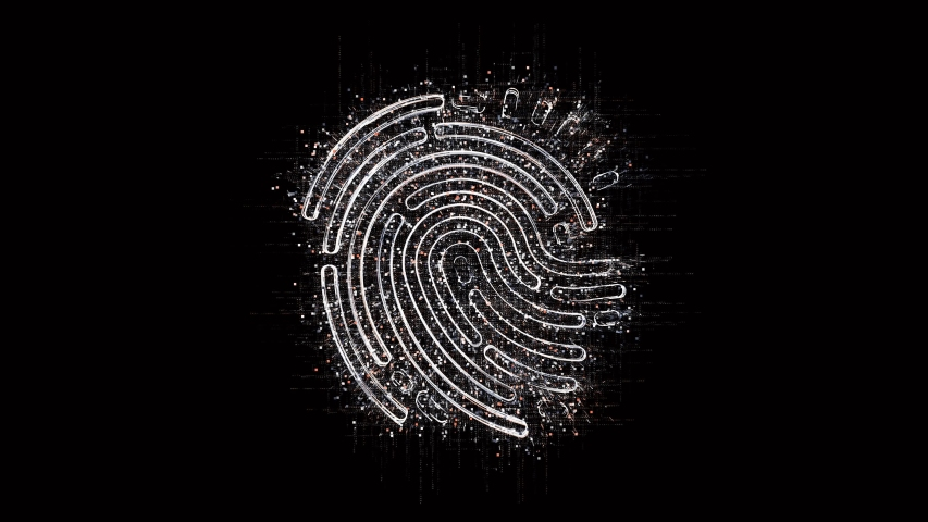4k fingerprint scan identity security data encryption logo tag cloud,binary computer code.The Matrix binary text design animation,changing from zero to one digits,abstract tech background.  | Shutterstock HD Video #1036208873