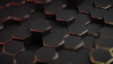 Abstract hexagon geometric surface, black minimal texture with neon orange holographic glow, random fluctuation of the canvas movement background. Seamless loop 4K 3D pattern digital motion graphics
