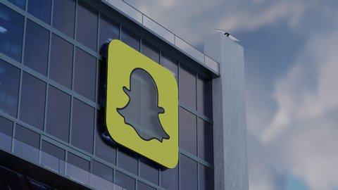 SNAPCHAT, USA - AUGUST 2019: 3D CGI Hyperlapse Animation of Snapchat Corporate Building During Cloudy Day. Snapchat is a multimedia messaging app used globally since 2011.