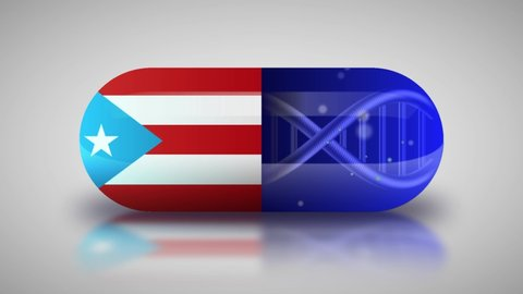 Animation of the national pharmaceuticals of Puerto Rico. Drug production in Puerto Rico. National flag of Puerto Rico on capsule with gene animation