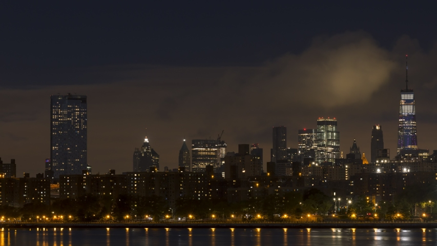 Full moon set over Downtown Manhattan from East night to day time-lapse | Shutterstock HD Video #1036740953